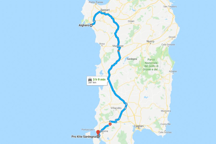 Percorso stradale da Alghero a Punta Trettu