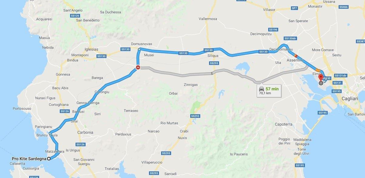 Percorso stradale da Cagliari Elmas a Punta Trettu